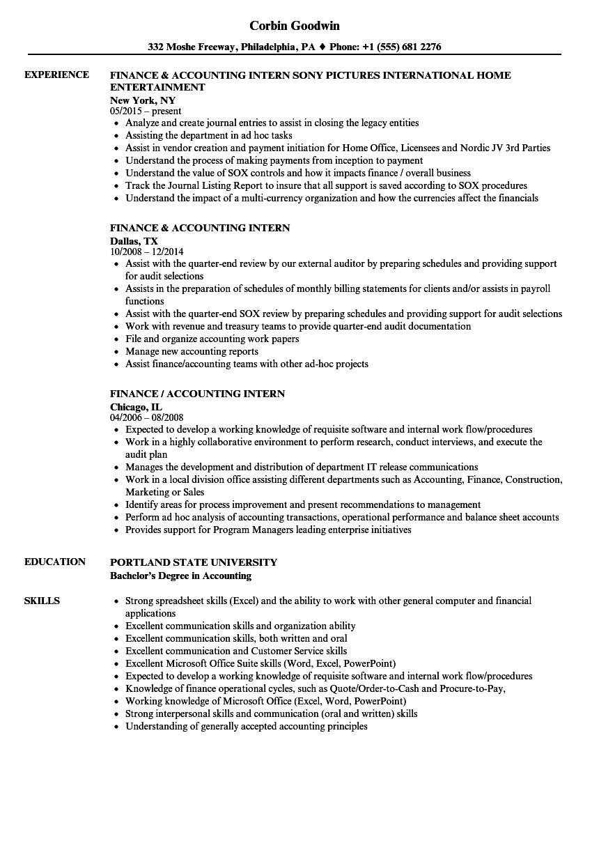 accounting internships resume examples