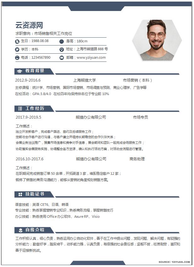 chinese resume sample