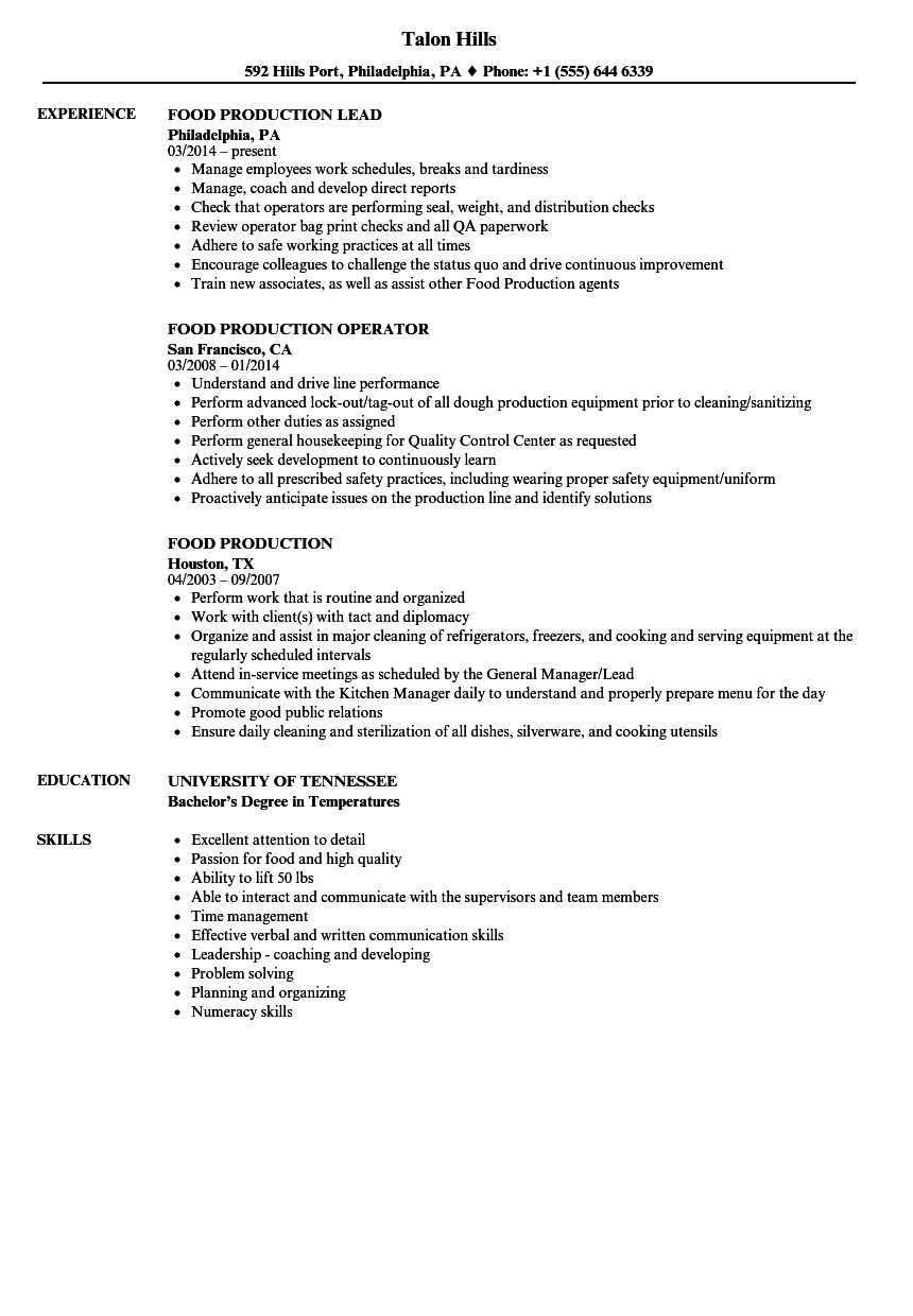 food production worker resume  louiesportsmouth