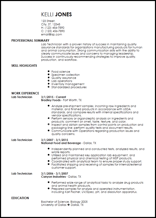 Laboratory Technician Resume | louiesportsmouth.com