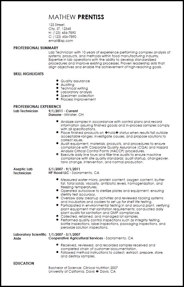 laboratory technician resume  louiesportsmouth