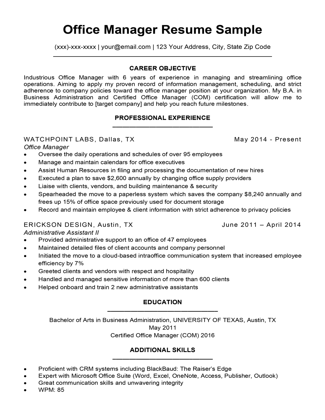 office manager resume sample  louiesportsmouth