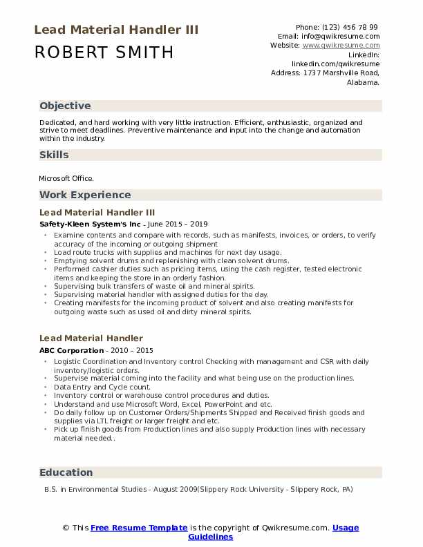 resume for material handler  louiesportsmouth