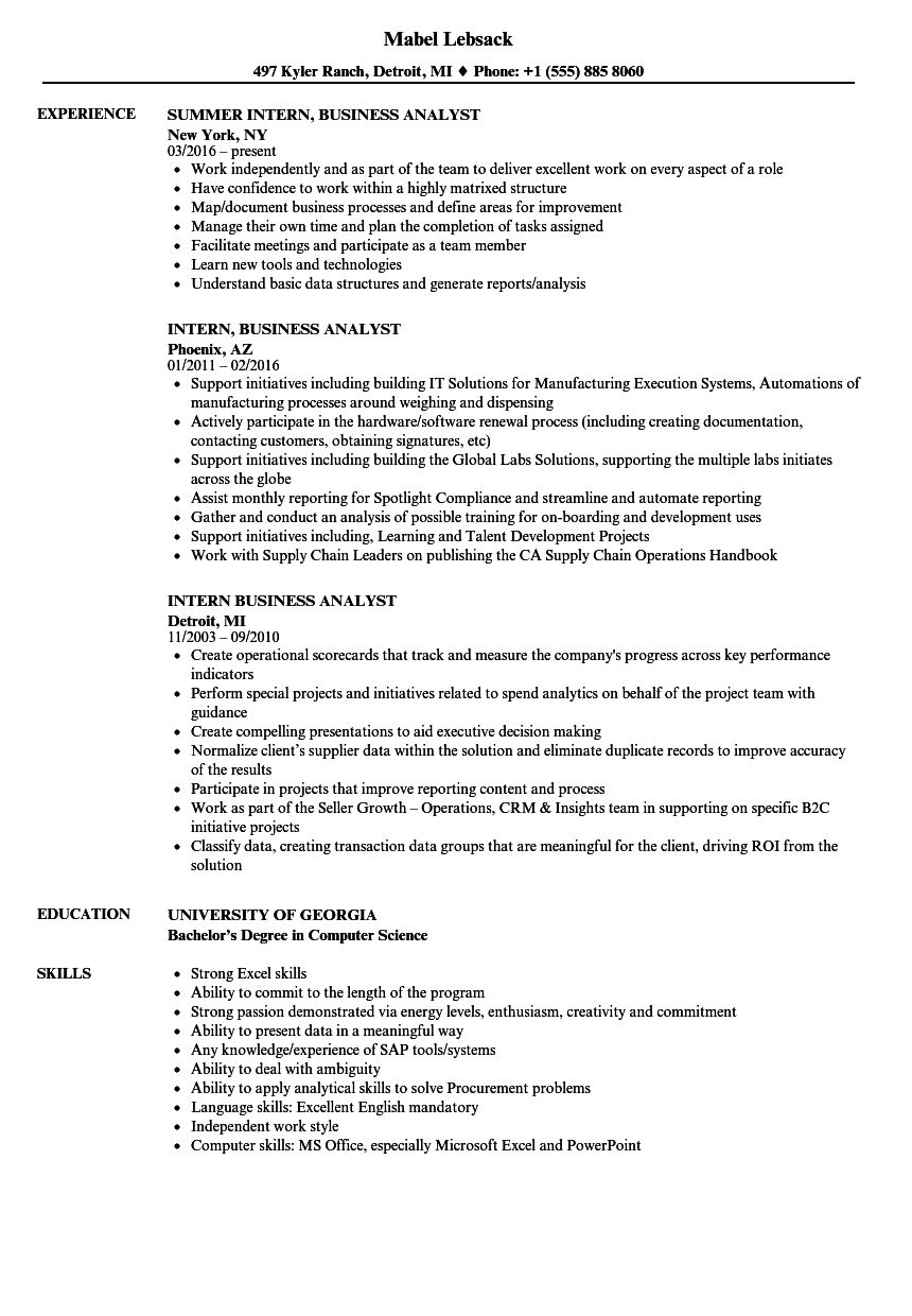 systems analyst intern resume examples  louiesportsmouth