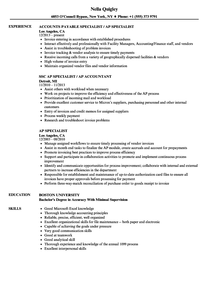 accounts payable specialist resume  louiesportsmouth