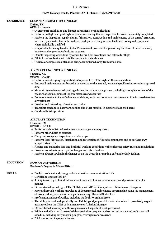 aircraft mechanic resume