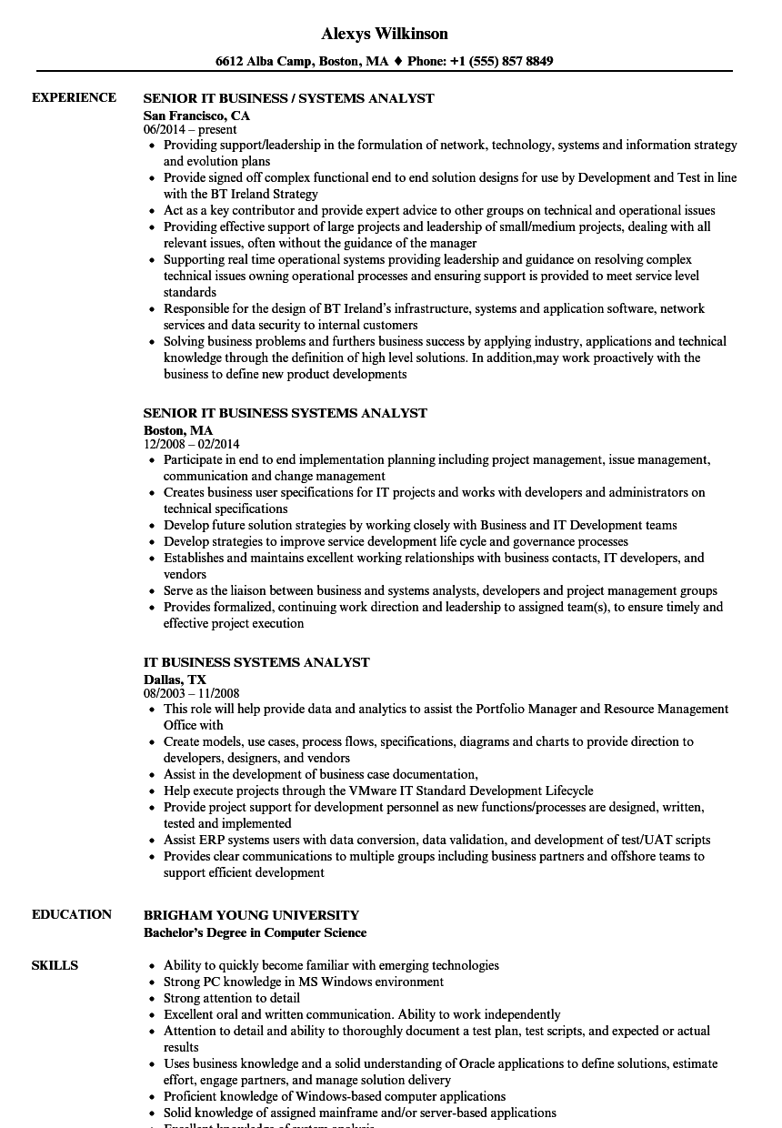 Business Systems Analyst Resume Louiesportsmouth Com