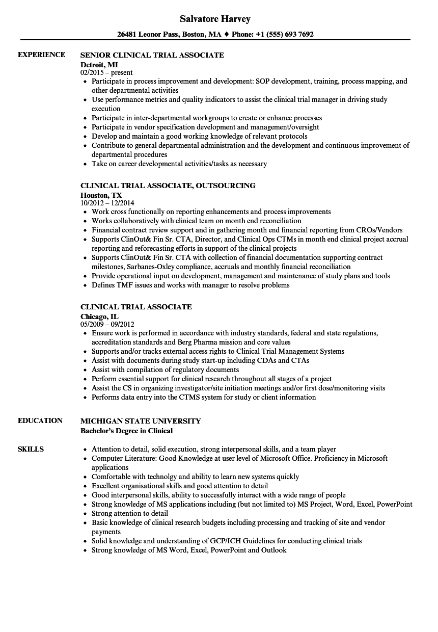 clinical research associate resume
