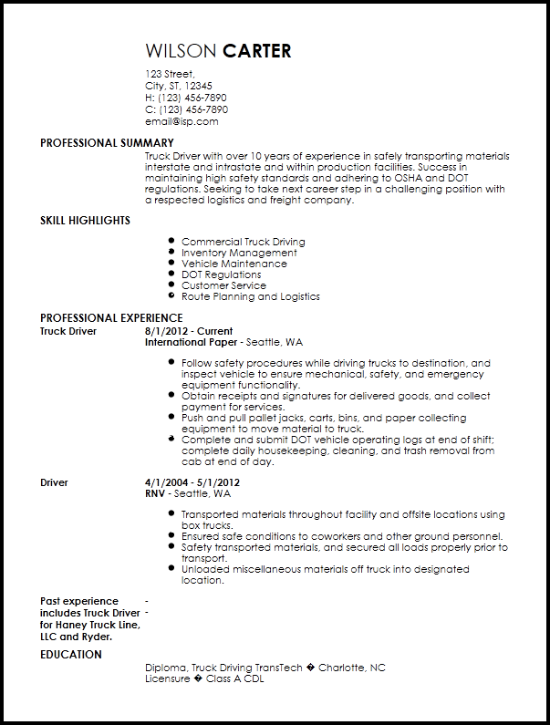 commercial truck driver resume