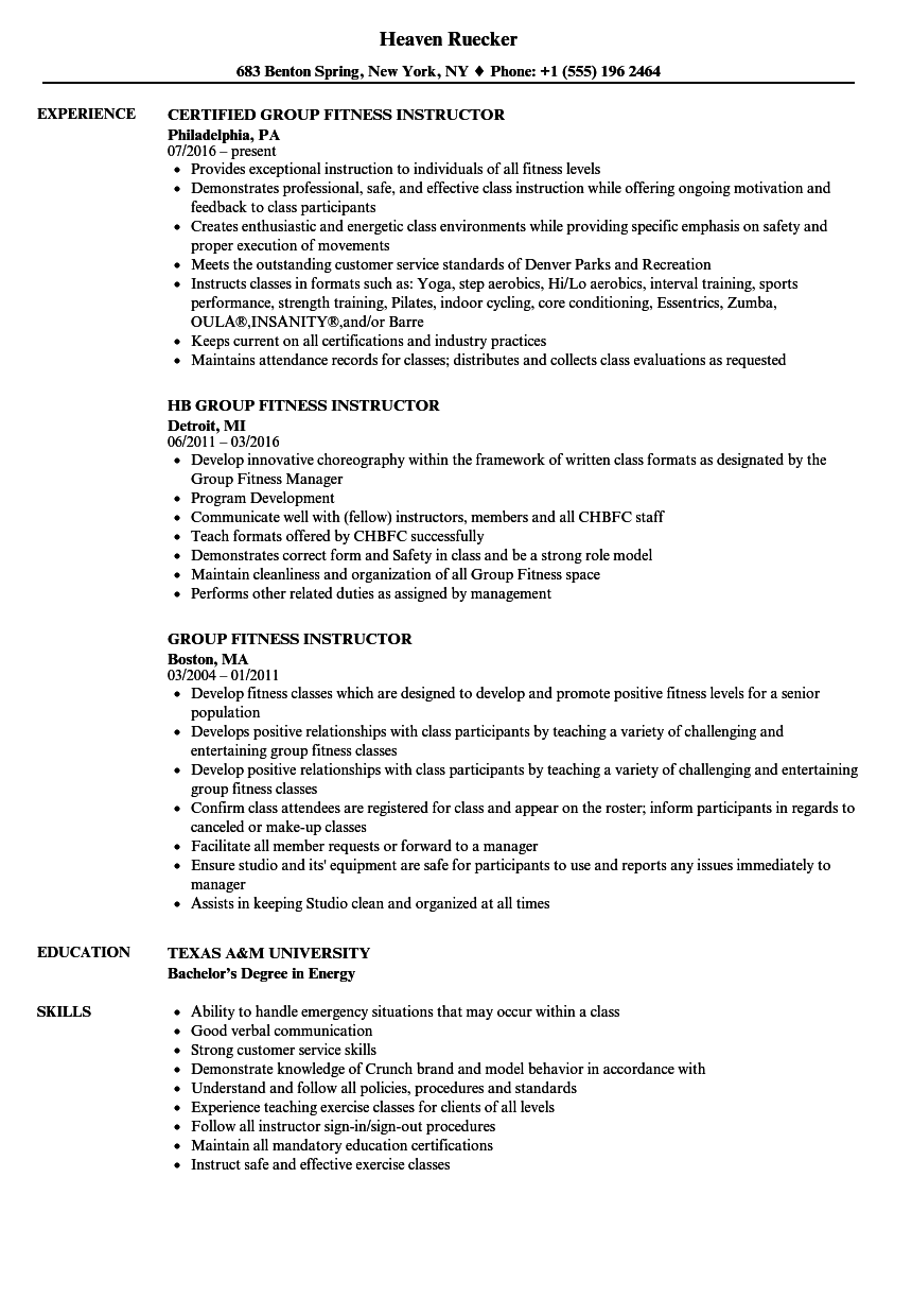 Group Fitness Instructor Resume | louiesportsmouth.com