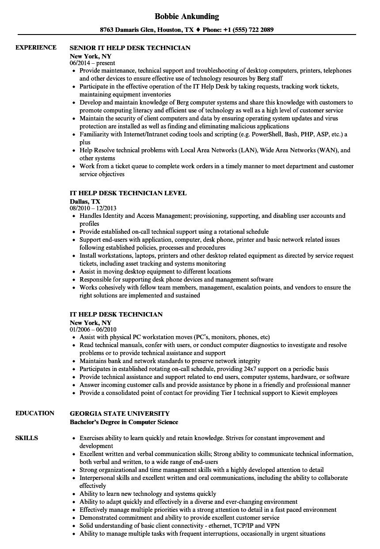 help desk technician resume  louiesportsmouth