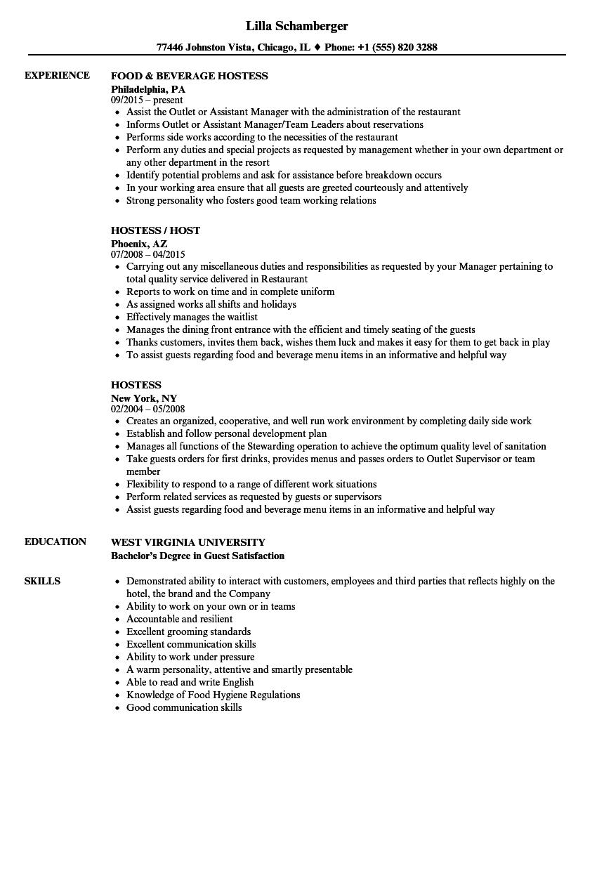 hostess resume