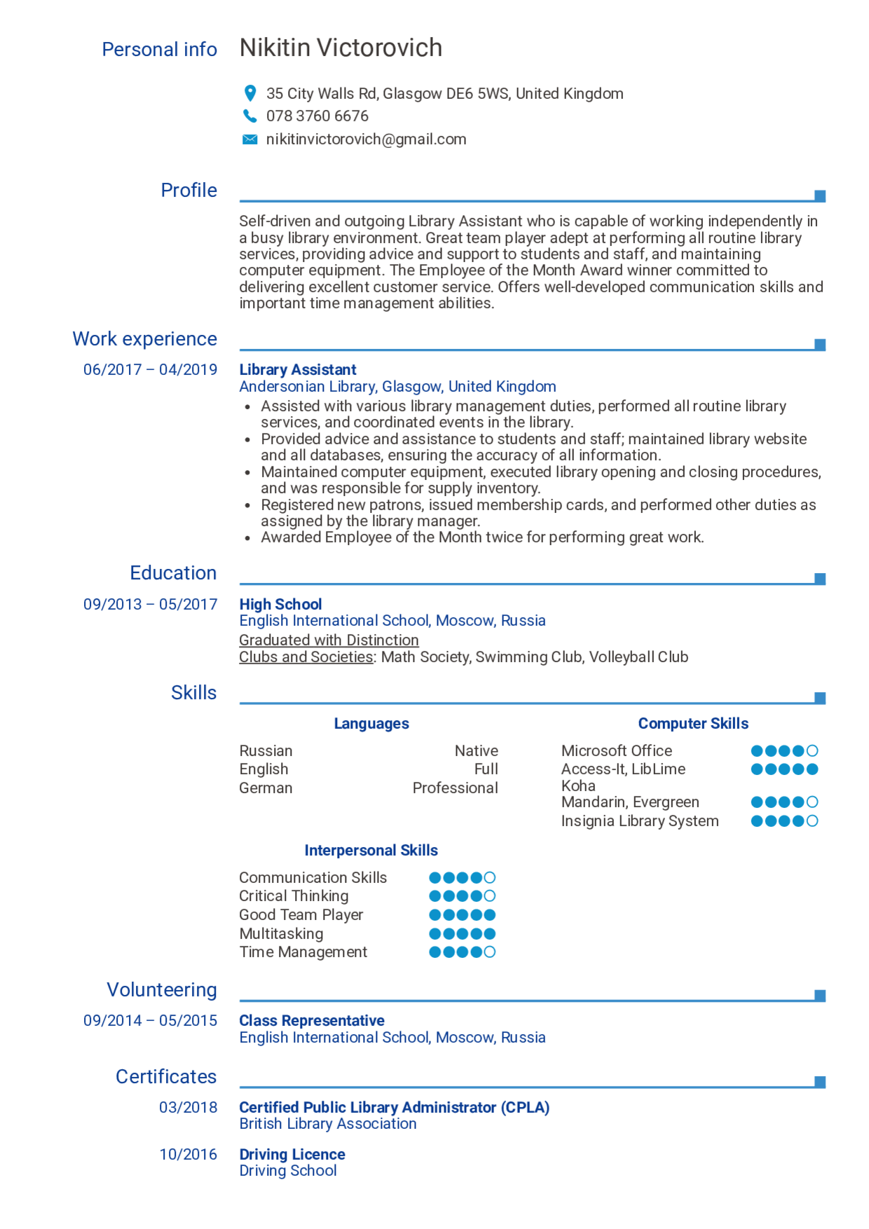 Library Assistant Resume Louiesportsmouth Com