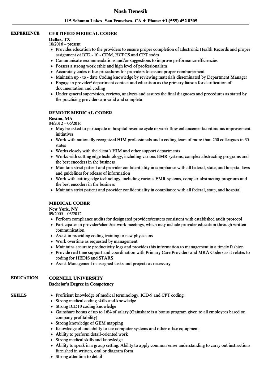 medical coder resume sample
