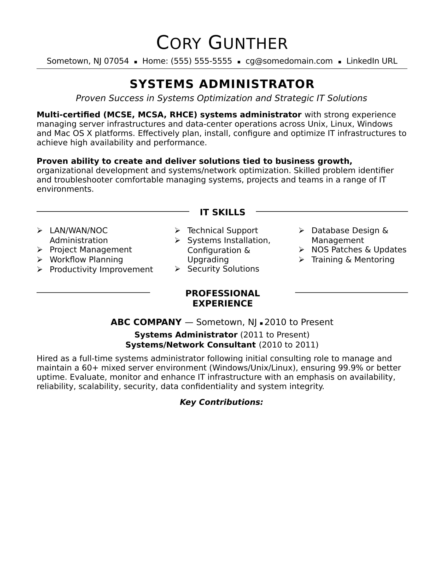 network administrator resume  louiesportsmouth