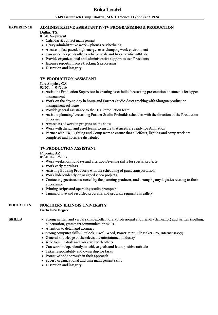 production assistant resume examples  louiesportsmouth