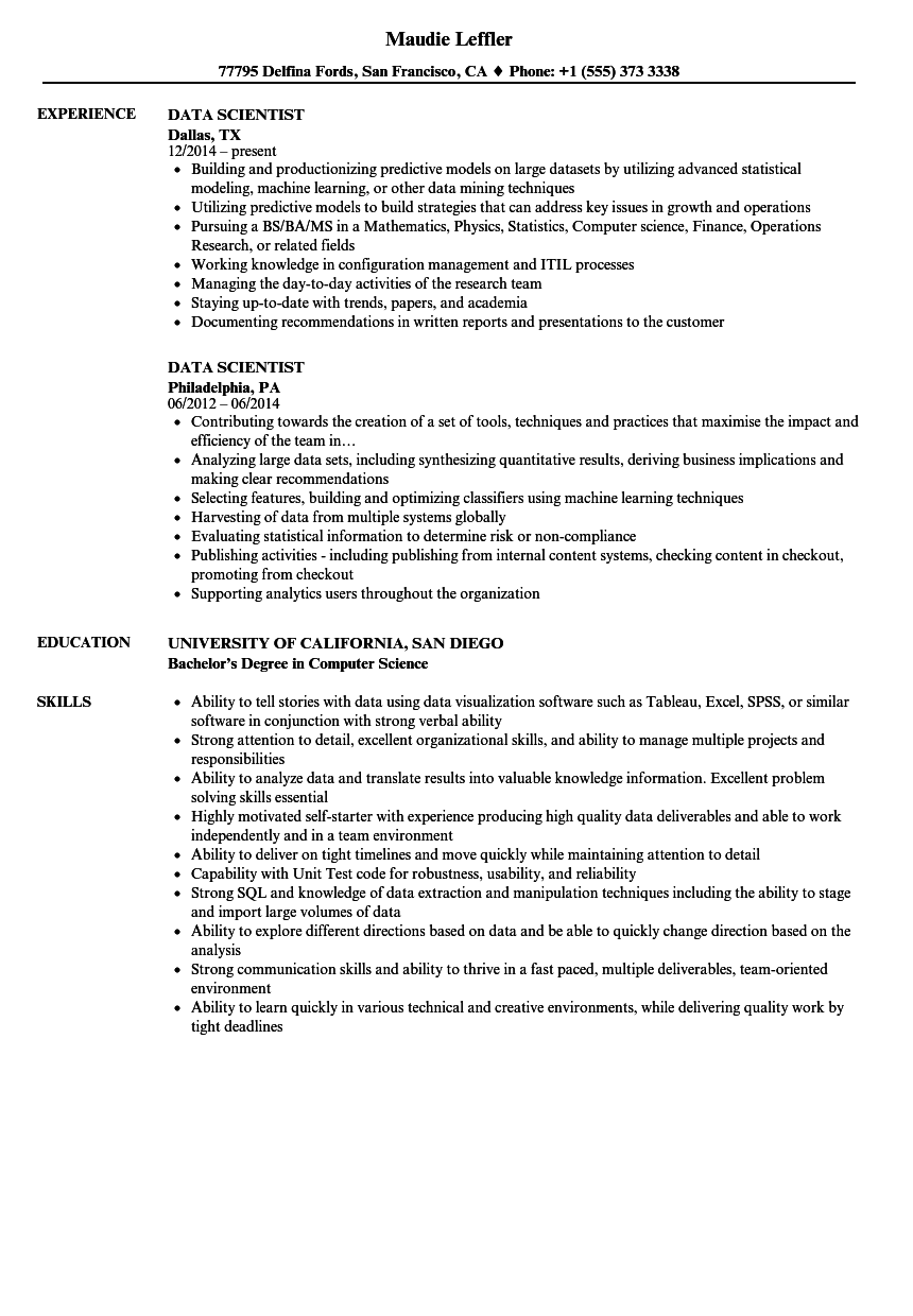 sample resume for data scientist  louiesportsmouth