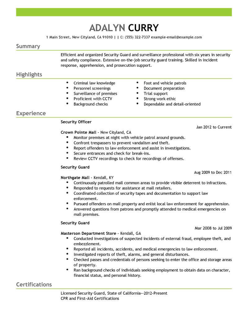 Security Guard Resume Sample Louiesportsmouth Com