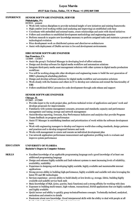 senior software engineer resume template