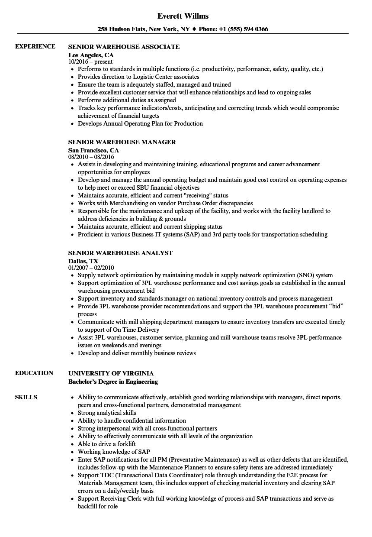 warehouse associate resume sample  louiesportsmouth