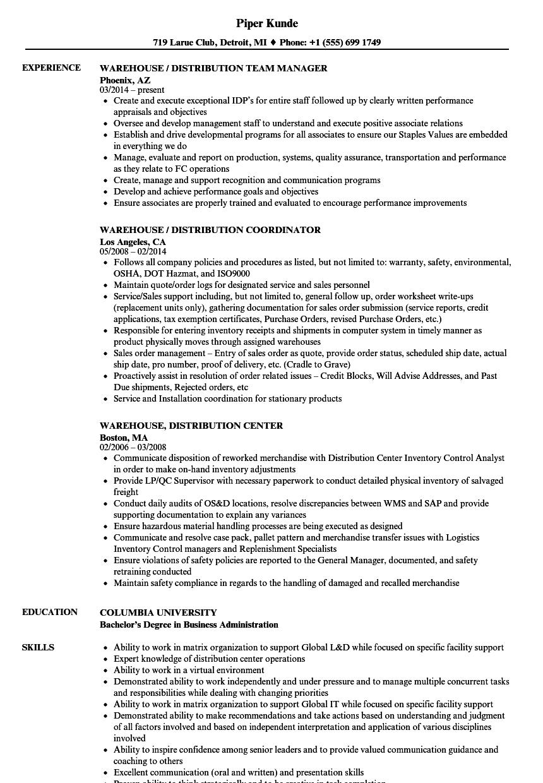 Distribution center worker resume