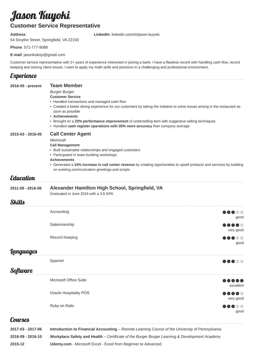 bank teller resume