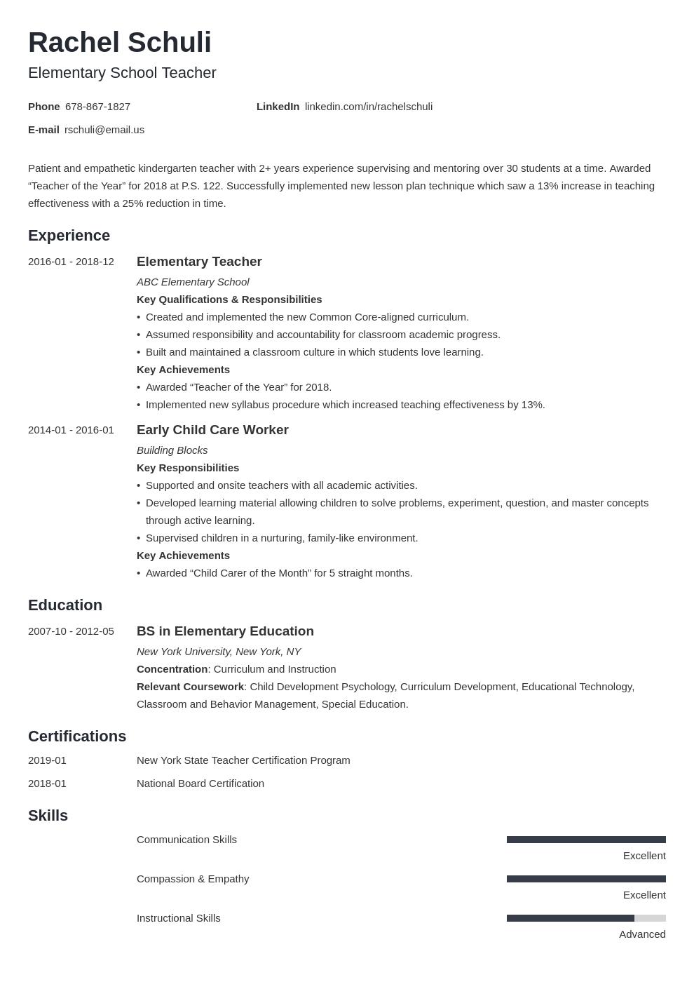 elementary teacher resume