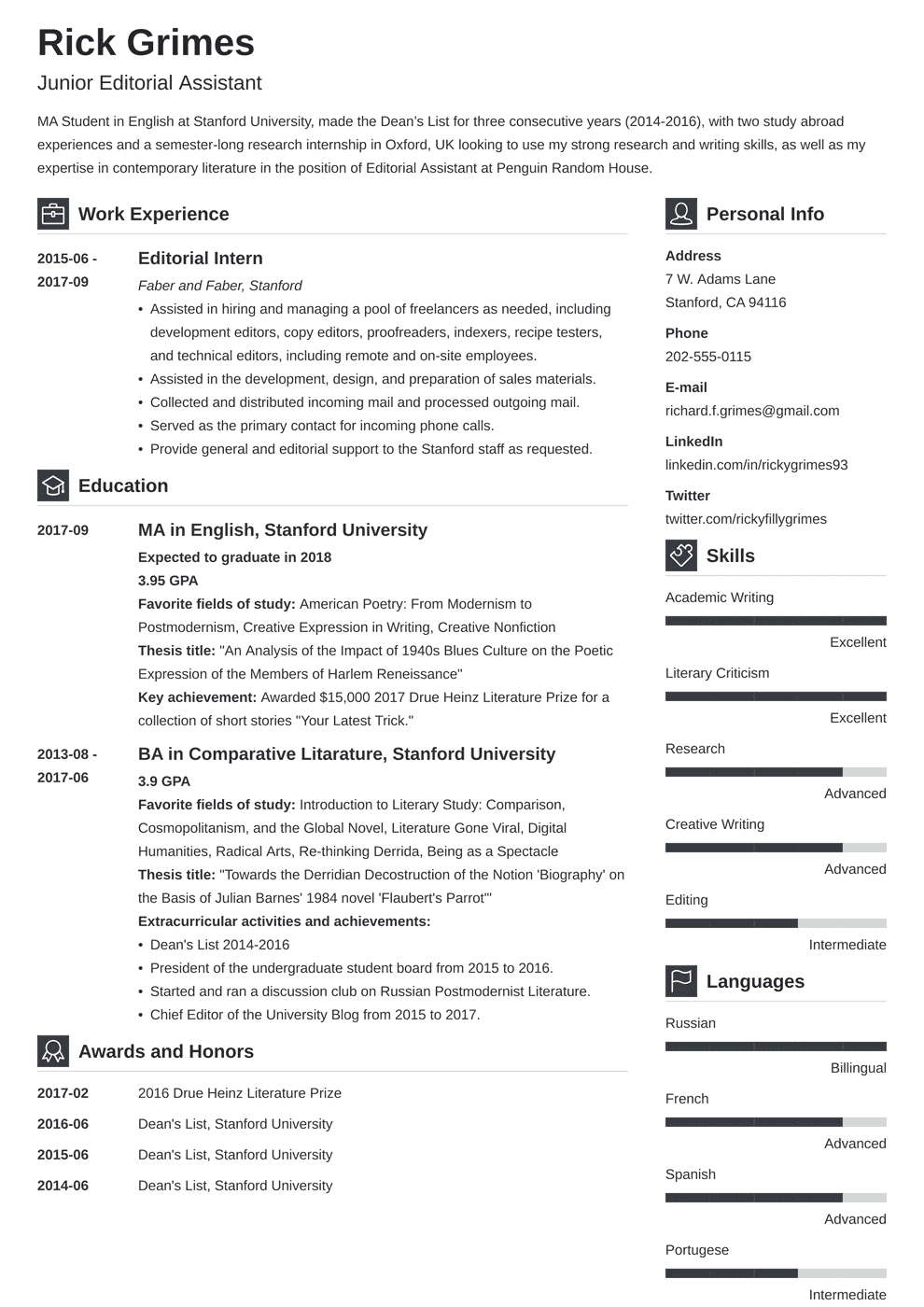 entry level resume  louiesportsmouth