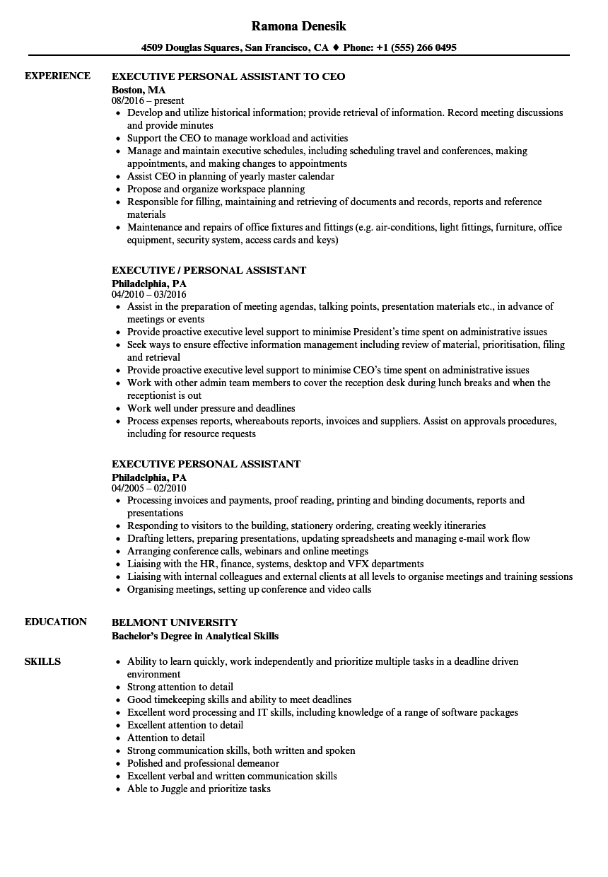 personal assistant resume  louiesportsmouth