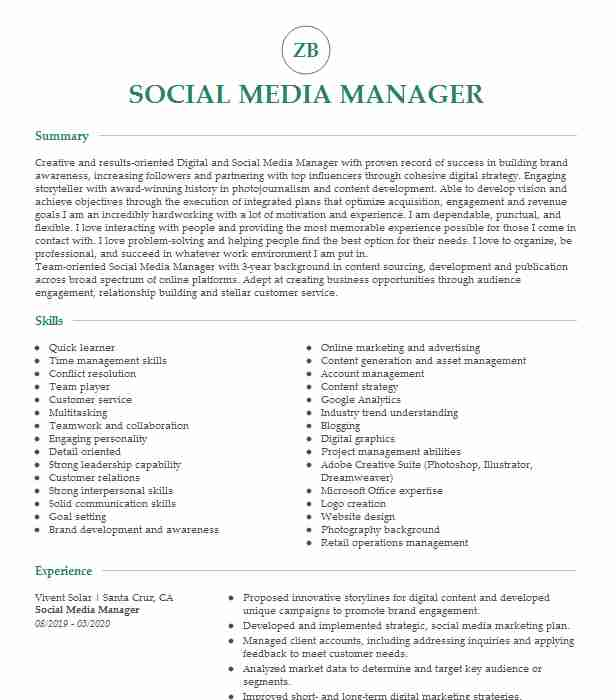 social media manager resume  louiesportsmouth