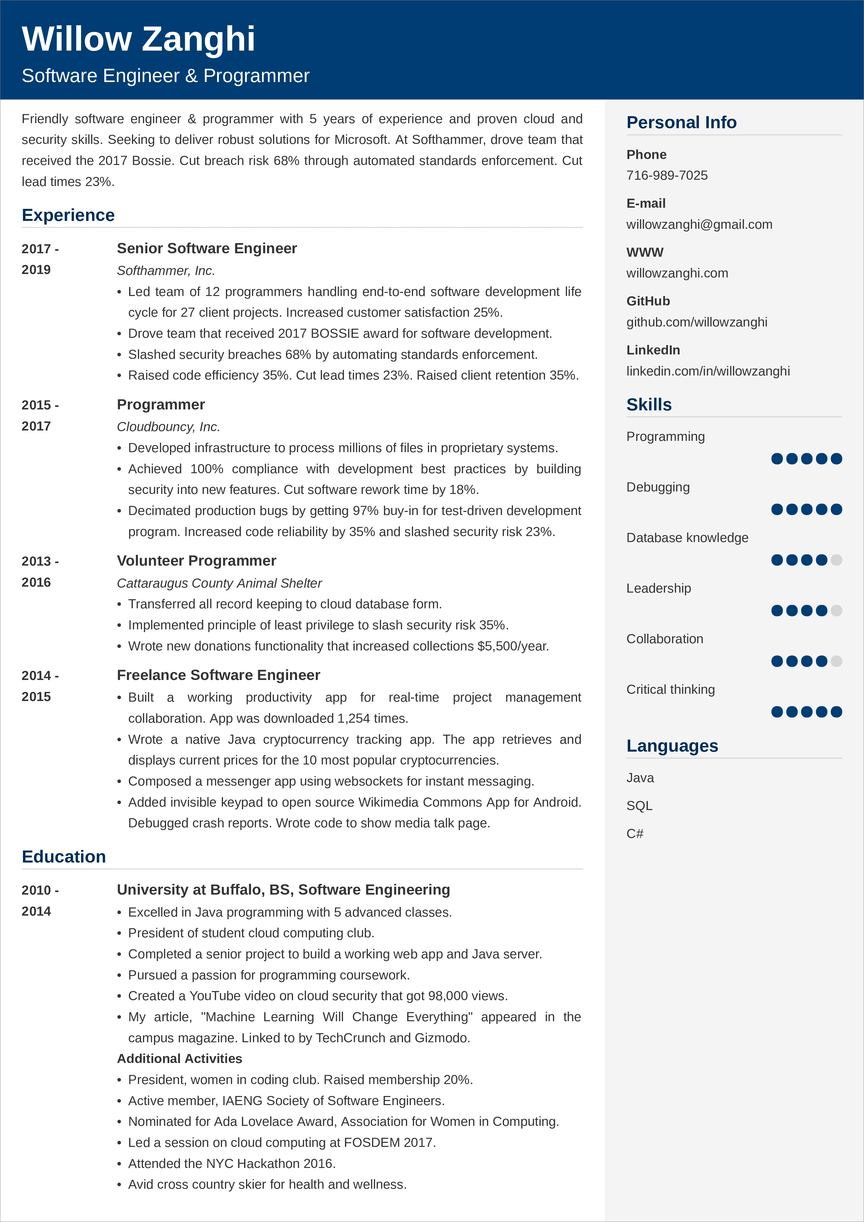 software engineer resume template  louiesportsmouth