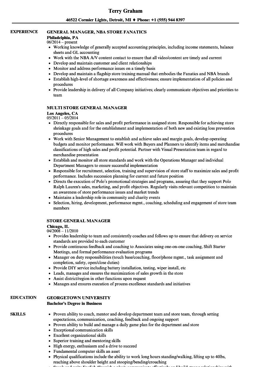 Store Manager Resume Louiesportsmouth Com