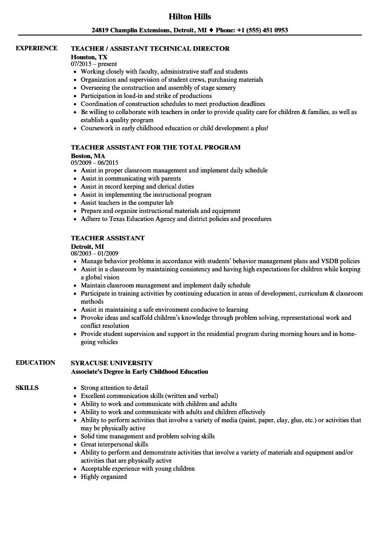 Teacher Assistant Resume | louiesportsmouth.com