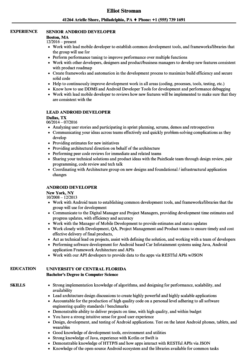 Android Developer Resume | louiesportsmouth.com