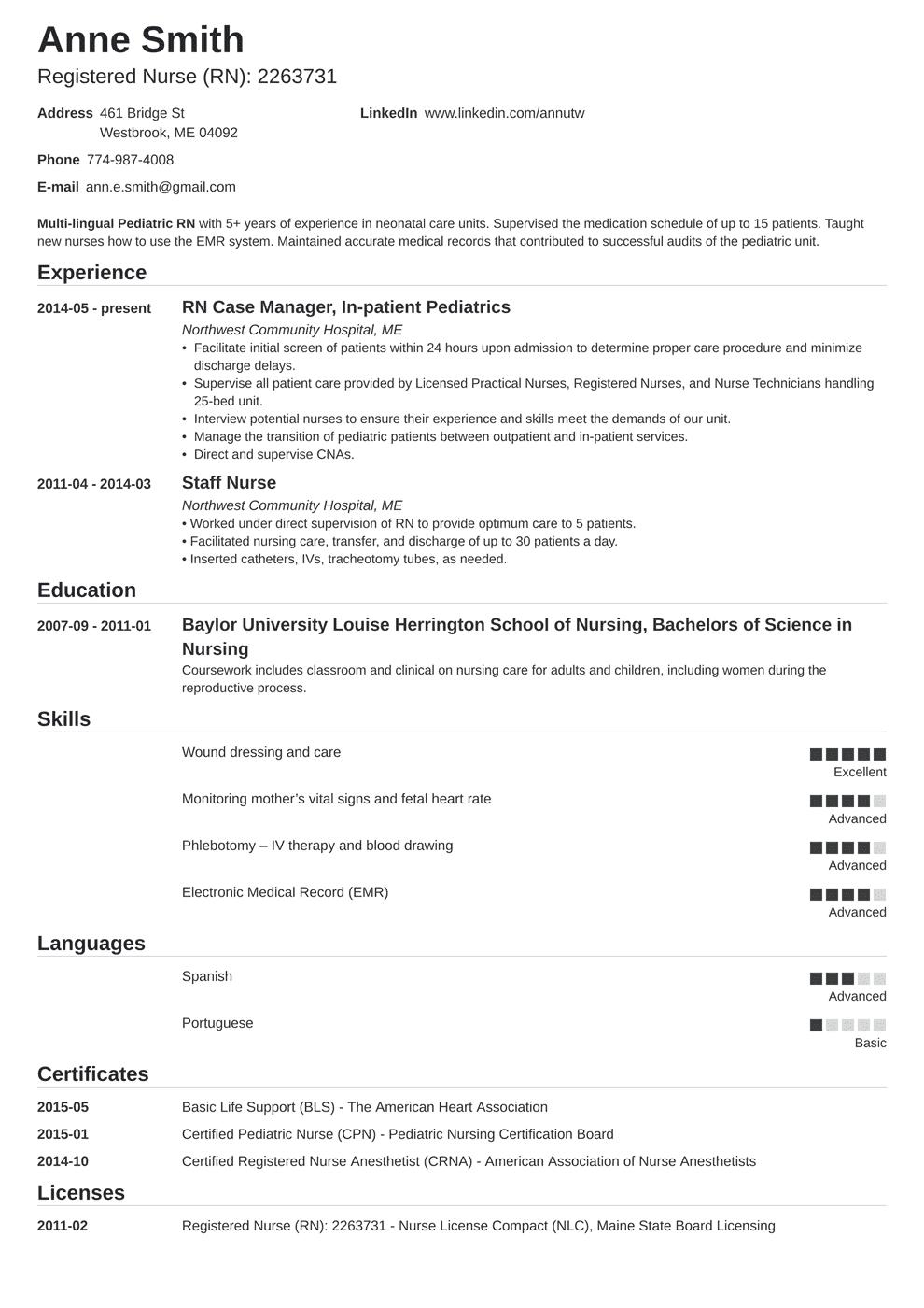 experienced nurse resume  louiesportsmouth