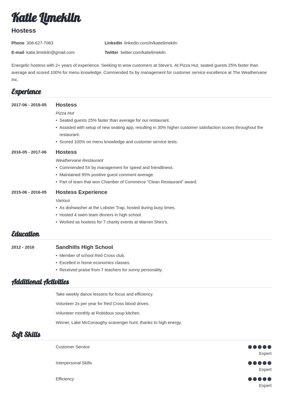 hostess job description for resume