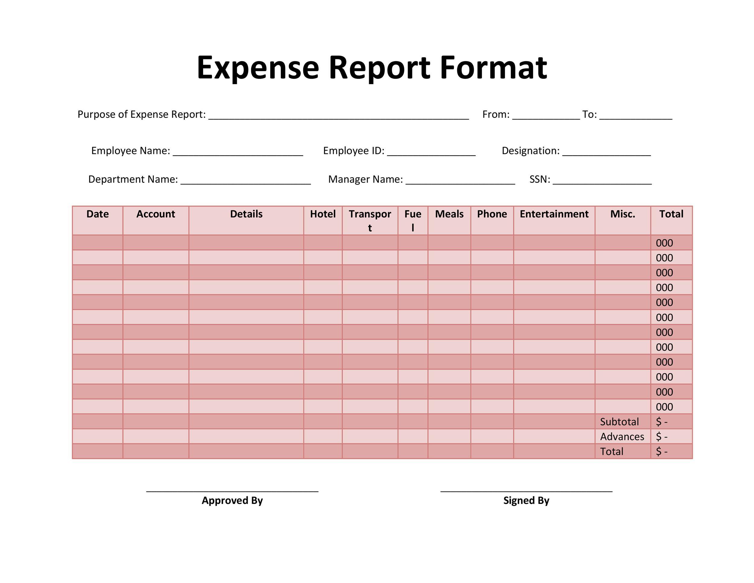 Expense Report Template Louiesportsmouth Com