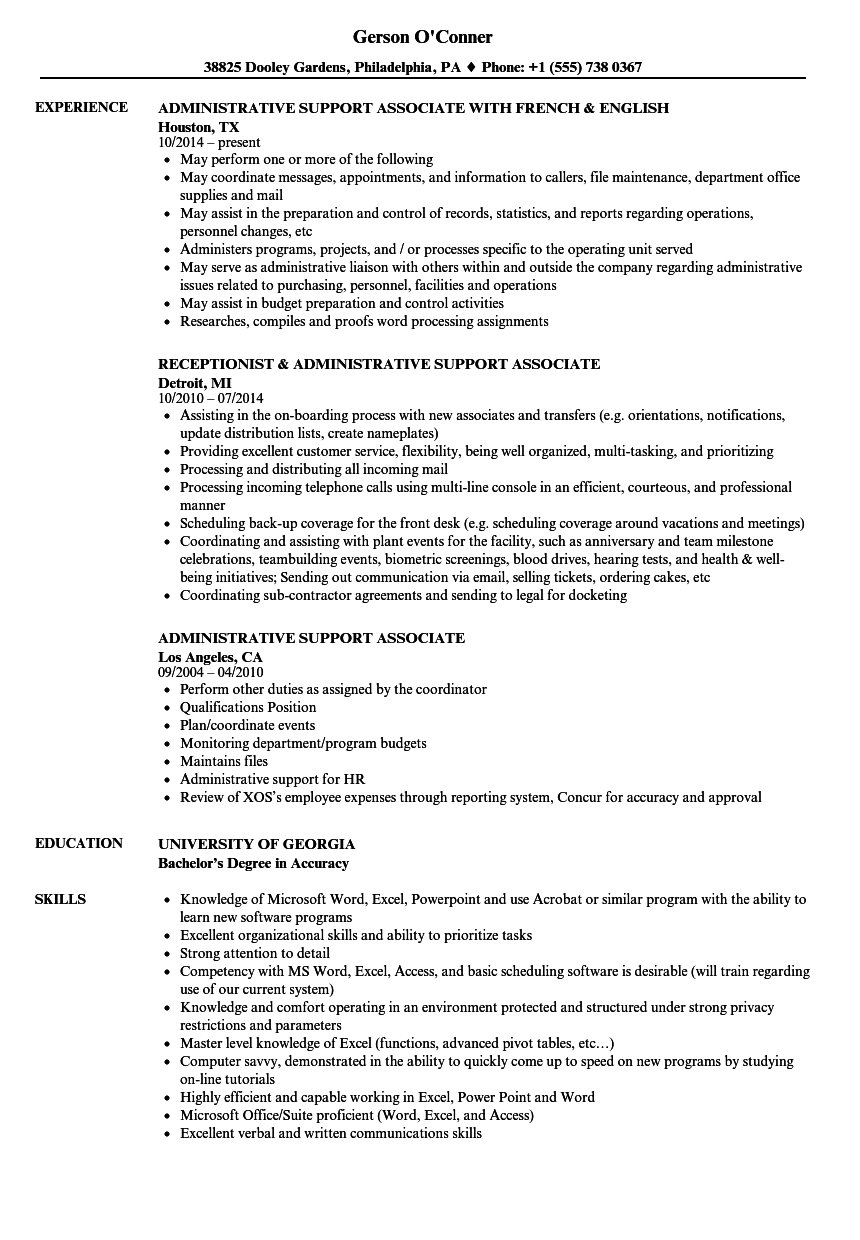 resume for administrative support  louiesportsmouth