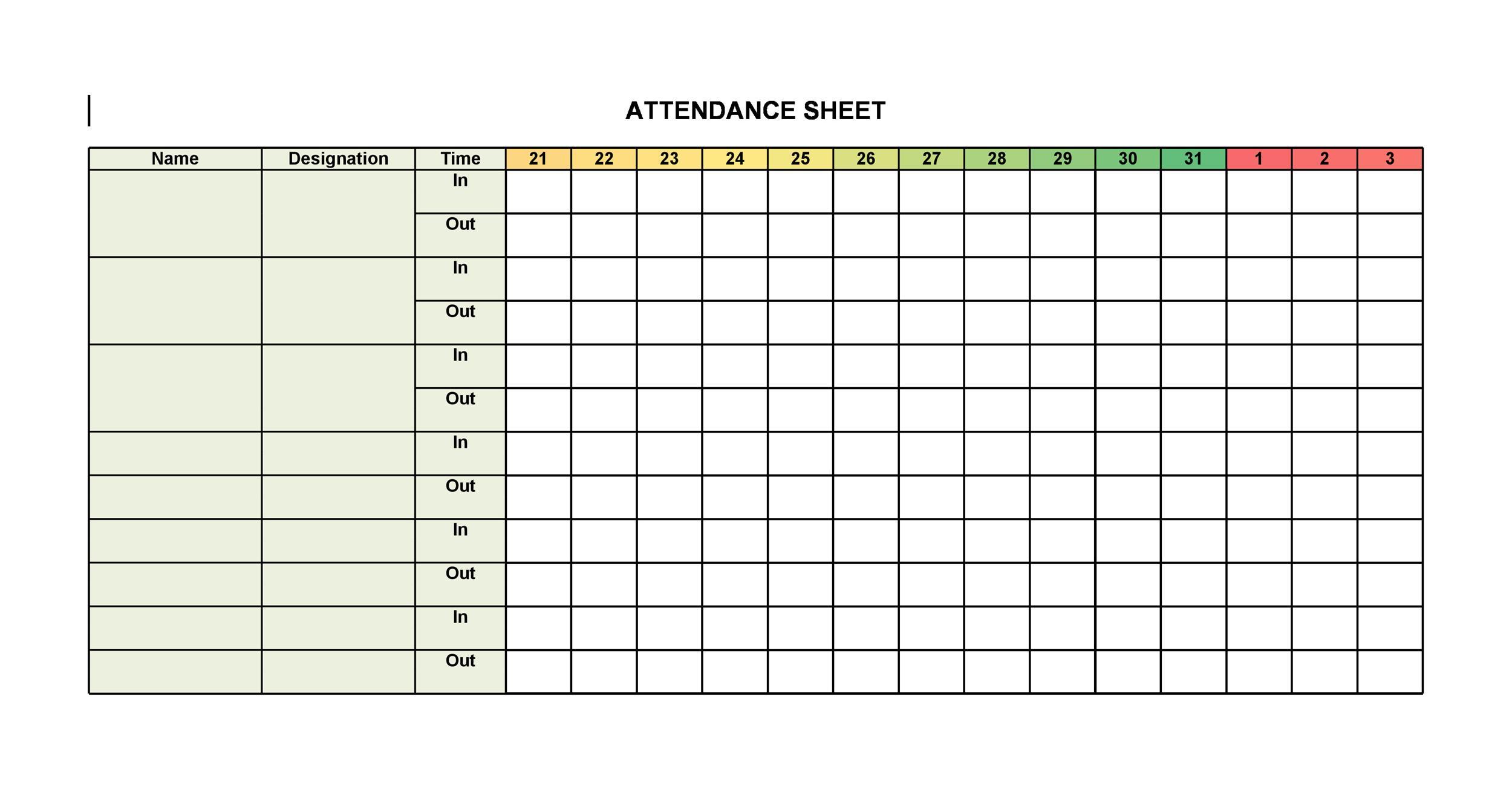Printable Attendance Sheet Louiesportsmouth Com